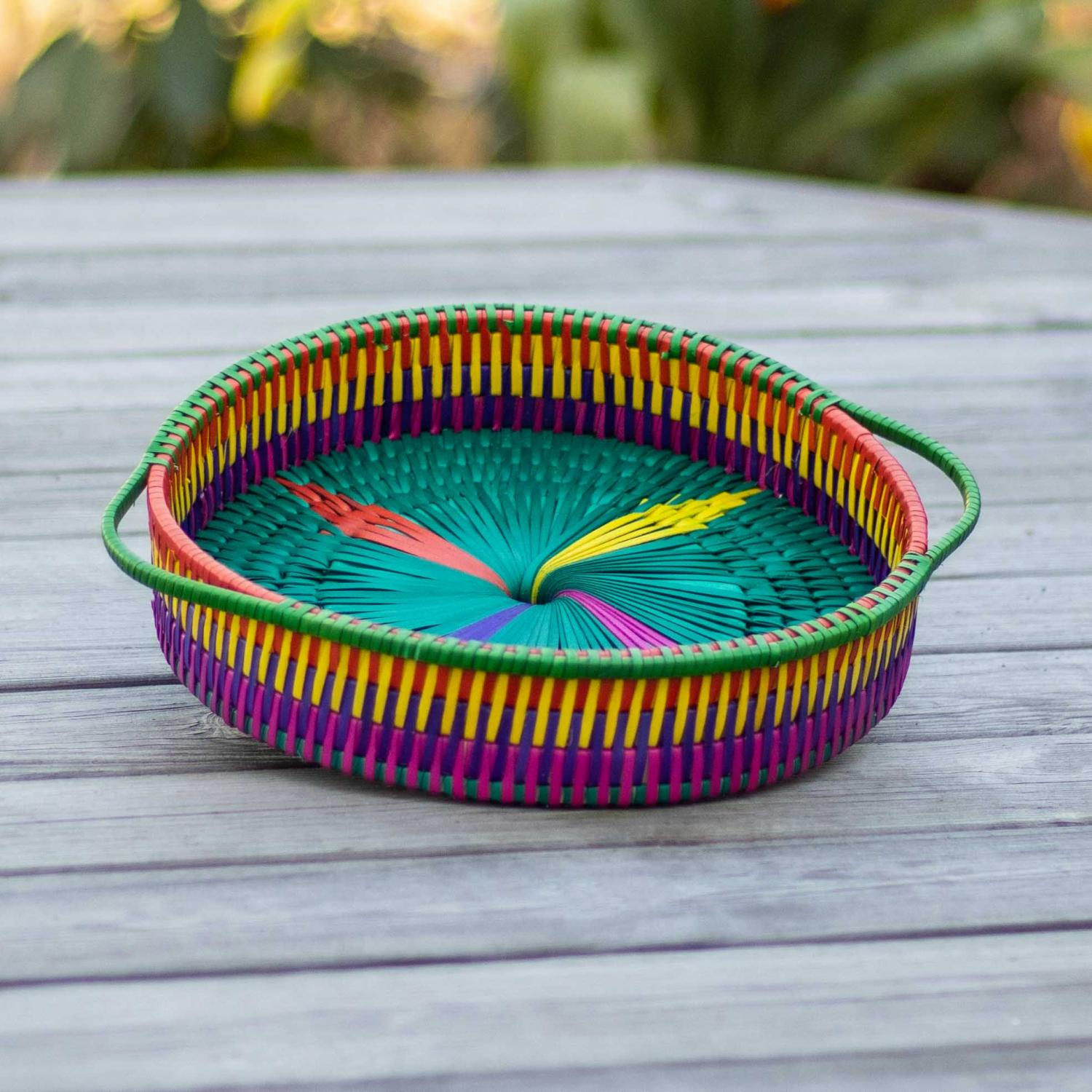 Palm leaf tray in rainbow colors and green handle