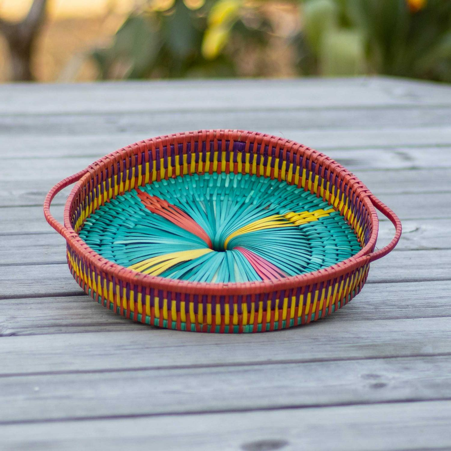 Palm leaf tray in rainbow colors and red handle