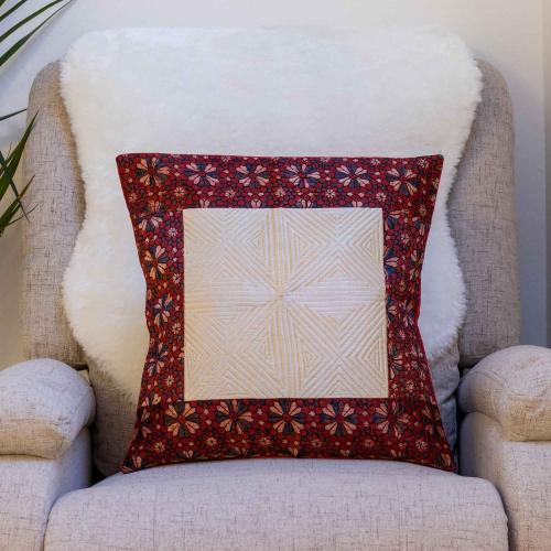 Mashru Silk cushion cover with red Ajrakh print border toning with off white color