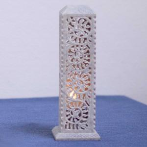 Combined candle stand and incense holder made from soapstone with intricate lattice work