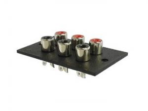 3x2P RCA panelmontering, nickel