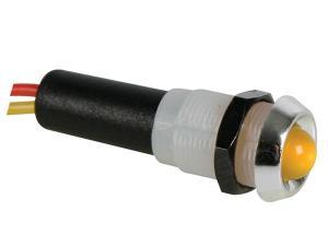 Led 12V Gul lampa med kabel, cromad ring