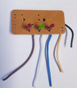 Kretskort med 3 lysdioder
