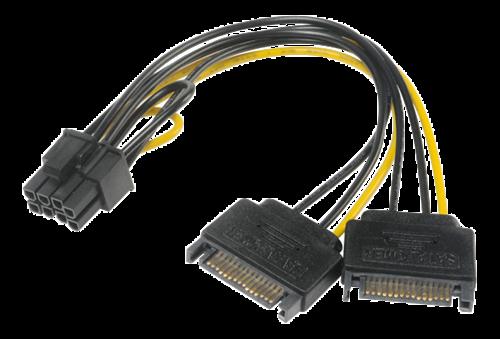 PCIe-adapter, SATA till 6+2-stifts  0.15m, svart/gul