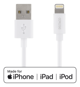 USB-synk-/laddarkabel till iPad, iPhone och iPod lightning