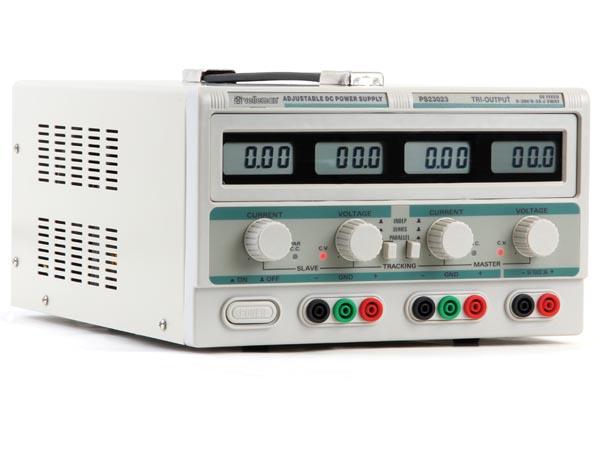 Nätaggregat  2 x 0-30VDC & 5V, 2 x 0-3A, 4 skärmar