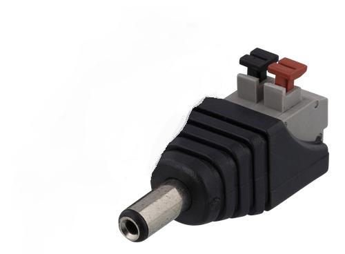 DC plugg 5,5 x 2,1 mm till 2 polig plint