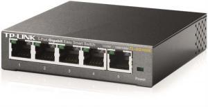 Nätverkswitch, 5-ports RJ45,  Metallhölje  Grå