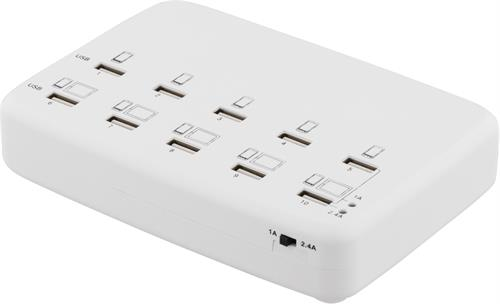 USB laddningsstation, 10 st USB portar