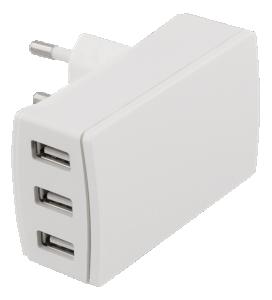 Väggladdare 240V till 3 x USB A 5V