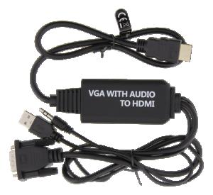 VGA till HDMI kabel med ljud, strömförsörjning USB.