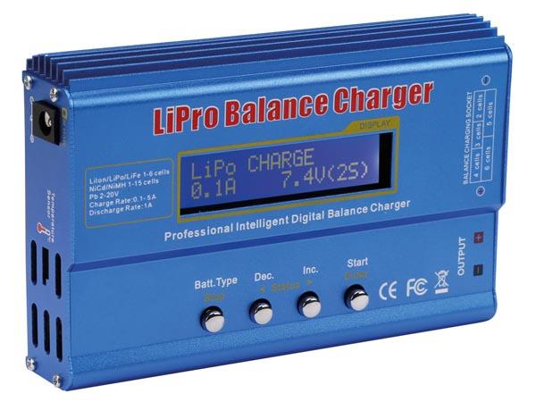 Batteriladdare laddar, balanserar och laddar ur laddningsbara batterier