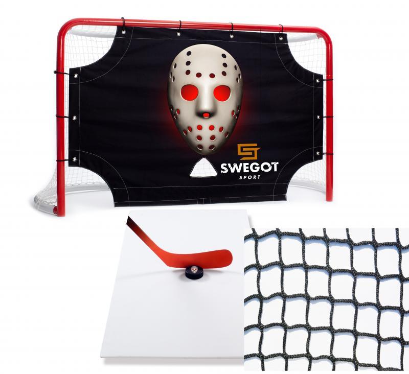 Off-ice Hockey Paketprodukt. Målbur, målvaktsduk, skottplatta och skyddsnät. Swegotsport