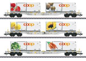"""Märklin 47461 Containervagnset """"Coop"""" Three AAE Cargo, Inc. Höstnyhet 2020 Förboka ditt exemplar"""