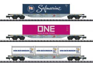 """Trix Minitrix 15228 Containervagnset """" RN/HRC """" Nyhet 2020 Förboka ditt exemplar"""