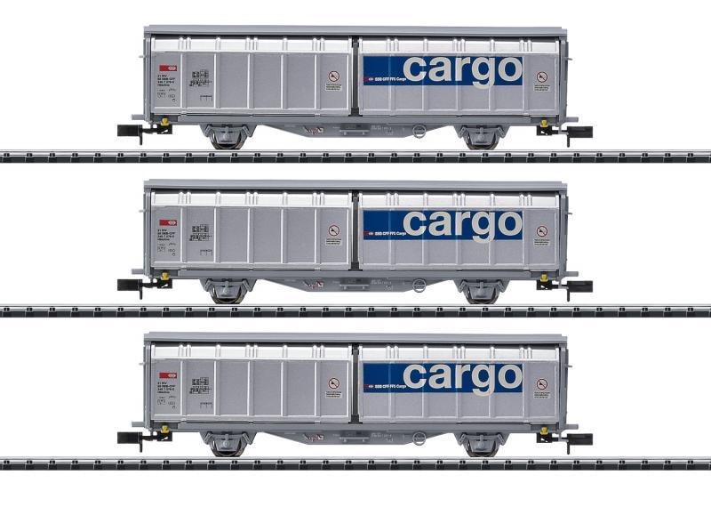 Trix Minitrix 15282 Godsvagnset ( SBB ) Cargo Business Area, type Hbbillns sliding wall