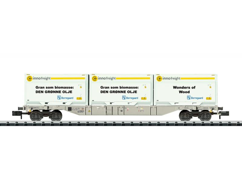 "Trix Minitrix 18408 Containervagn "" Borregaard"" Type Sgnss Nyhet 2020"