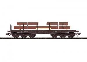 """Trix 24062 Tunglastvagn med stålplåtar (DB) type Sammp 705 """"OBS begagnad se beskrivning"""""""