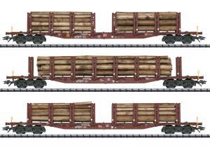 Trix 24146 Stolpvagnset med last av timmer ( DB AG ) type Snps 719 Nyhet 2021 Förboka ditt exemplar