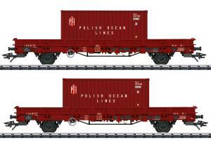 """TRIX 24555 Vagnset med 2 container vagnar """" POLISH OCEAN LINES """" Nyhet 2021"""