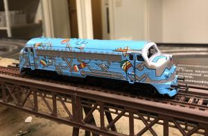 Märklin 3174 NOHAB diesellok DSB, blått med kretskortsmotiv, 1126, analogt 1991–92