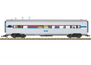"""LGB 36604 Amerikansk Restaurangvagn Amtrak 8021 """"50 Years of Amtrak"""" Nyhet 2021 Förboka ditt exemplar"""