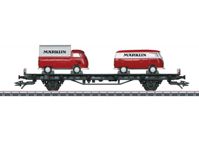 """Märklin 45083 Bil Transport med 2 VW Type T1 """"Märklin"""" bilar"""