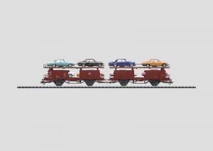 46134 Biltransportvagn DB lastad med 8 Mercedes bilar