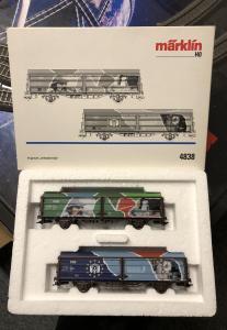 Märklin 4838 DSB 2 täckta godsvagnar Euromotiv Begagnad Nyskick