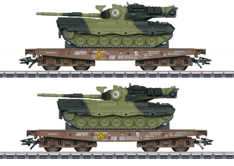 Märklin 48842 ( DSB ) type Slmmps heavy-duty flat cars, loaded with Leopard 1A5 combat tanks Dansk Nyhet 2021 Förboka ditt exemplar