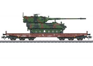 Märklin 48872 ( DB AG ) type Samms 709 6-axle heavy-duty flat car, lastad med 2000 tank howitzer Nyhet 2021 Förboka ditt exemplar