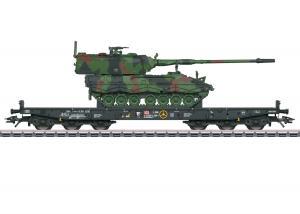 Märklin 48873 ( DB AG ) type Samms 709 6-axle heavy-duty flat car, loaded with a type 2000 tank howitzer Nyhet 2021 Förboka ditt exemplar