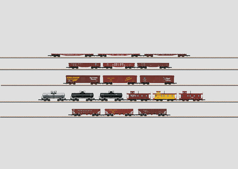 Märklin 82499 Display with 18 American Freight Cars OBS pris per styck