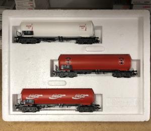 Märklin 84519 SJ Vagnset, 3 st CocaCola boggitankvagnar 1995 Nyskick