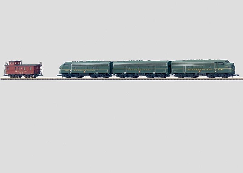88321 Trippel Dieselelektriskt Amerikanskt lok EMD F 7 Pennsylvania Railroad
