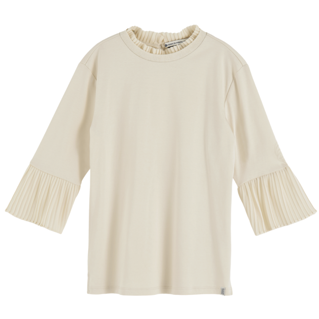 Sleeve Tee With Pleated Details