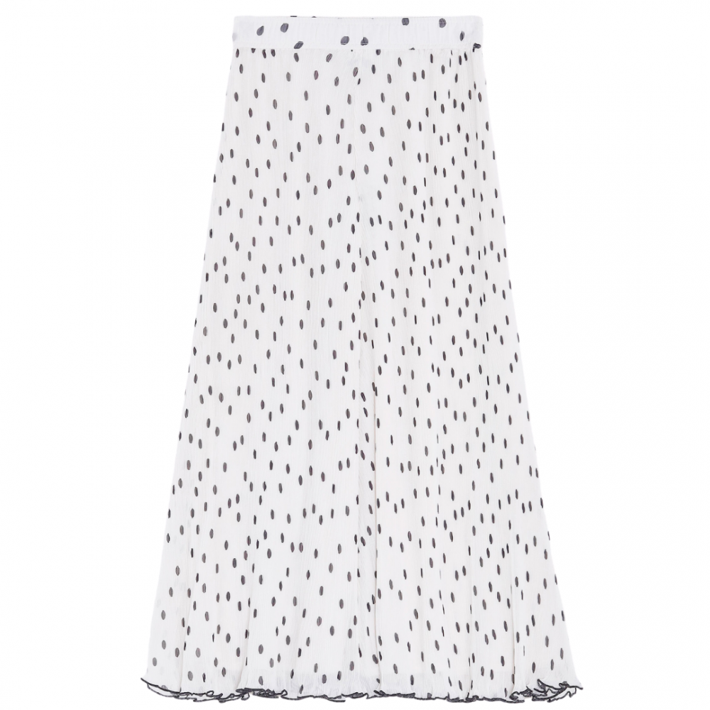 Pleated Georgette Skirt Dots
