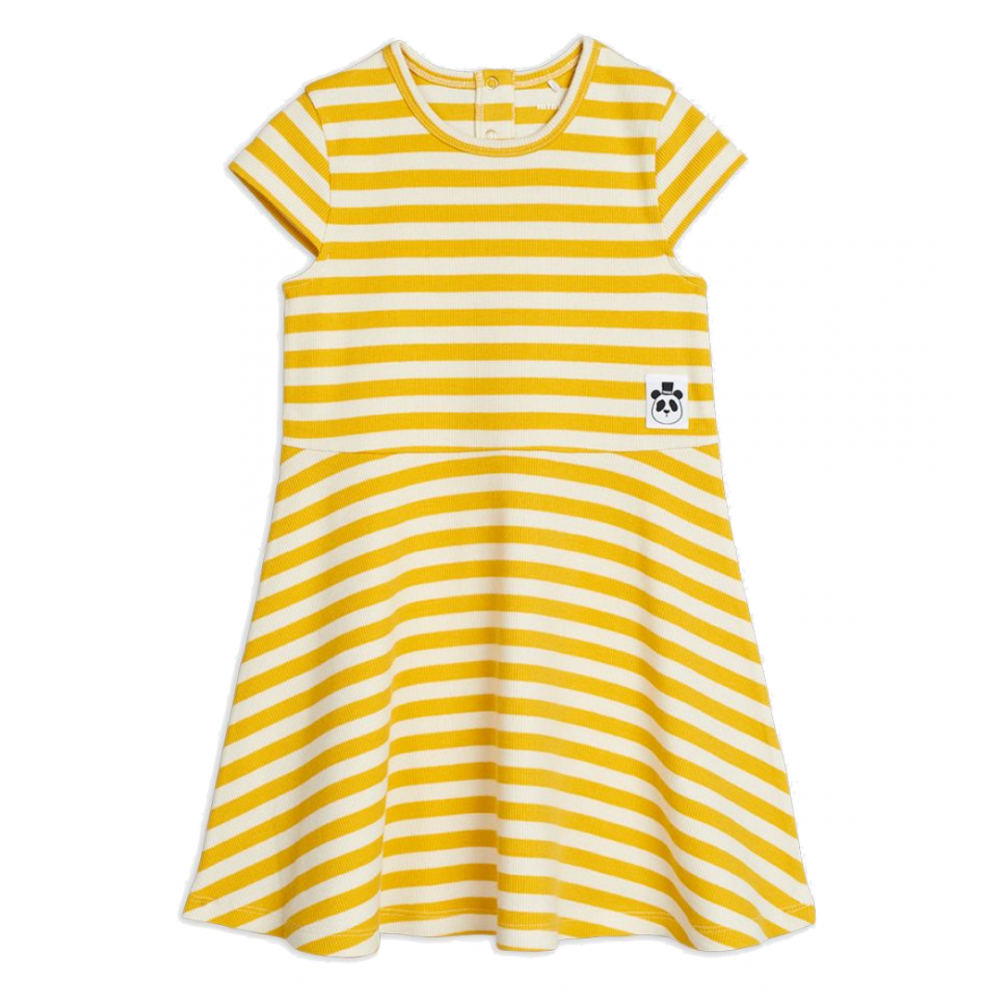 Stripe Rib SS Dress Yellow