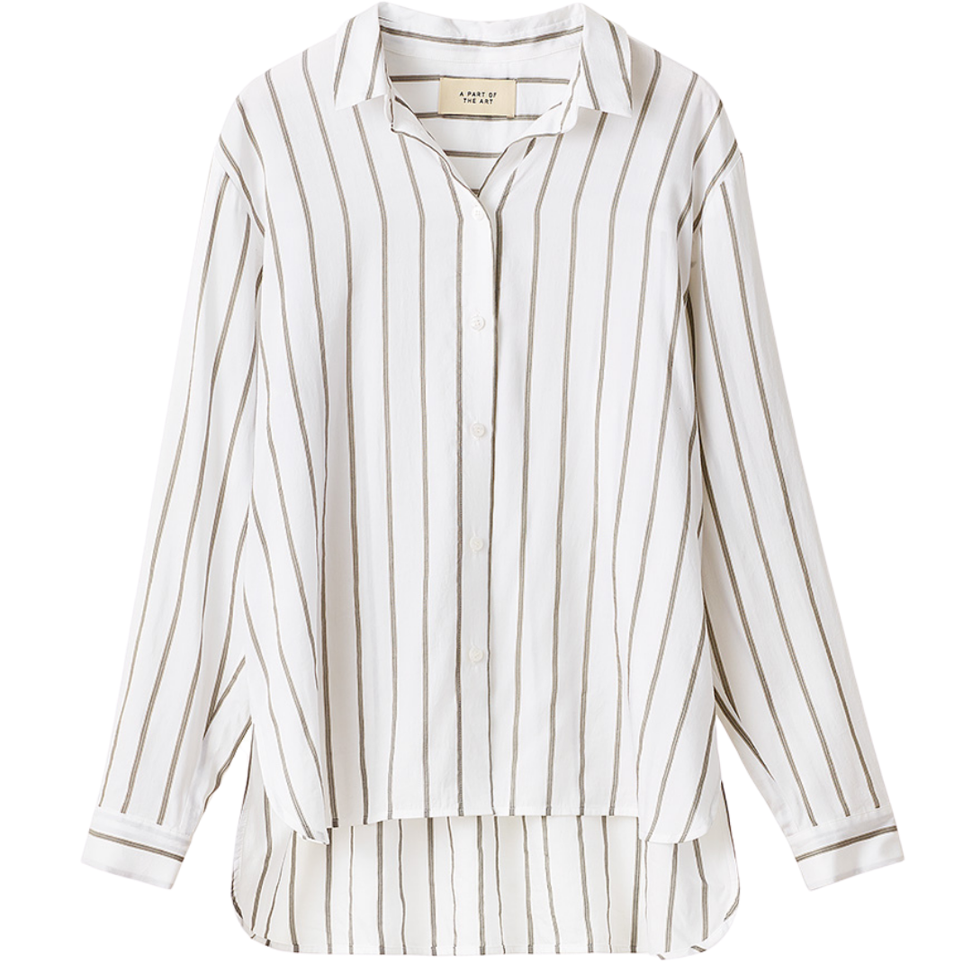 Daily Shirt White w Grey Stripe