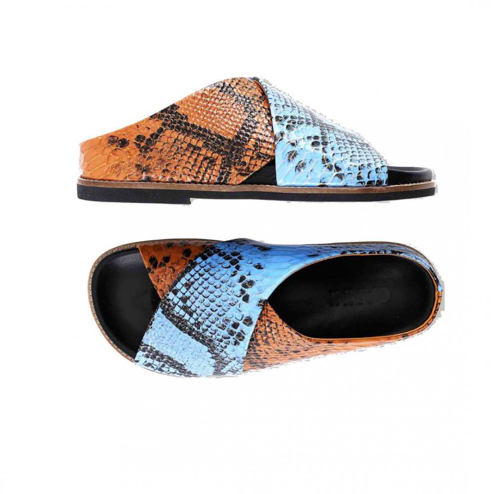 Flat Leather Sandal Brunnera Blue