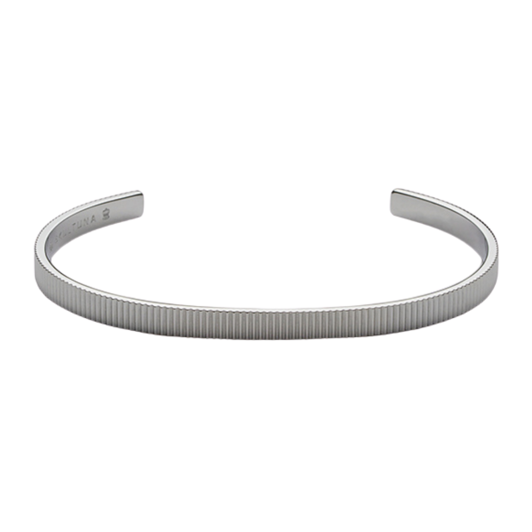 Ribbed Cuff Thin Polished Steel