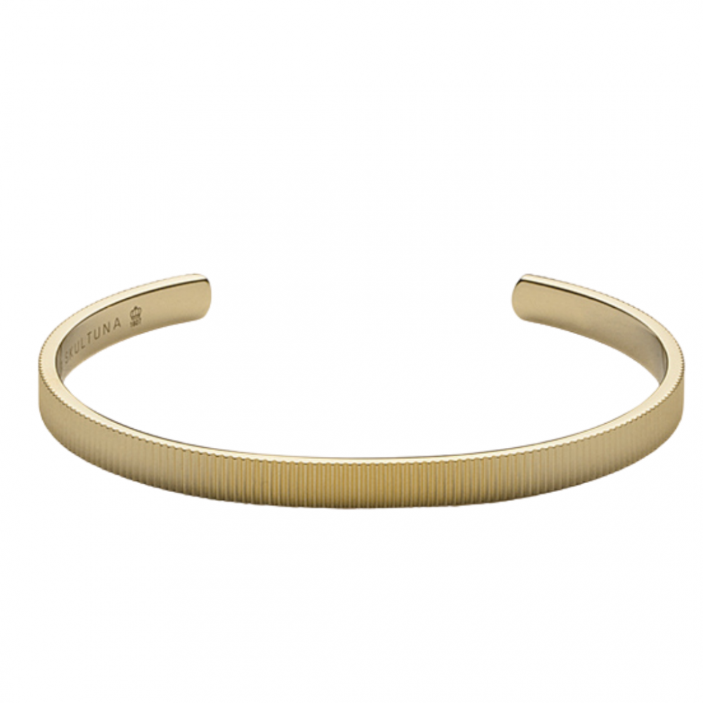 Ribbed cuff Thin Bangle Gold Plated