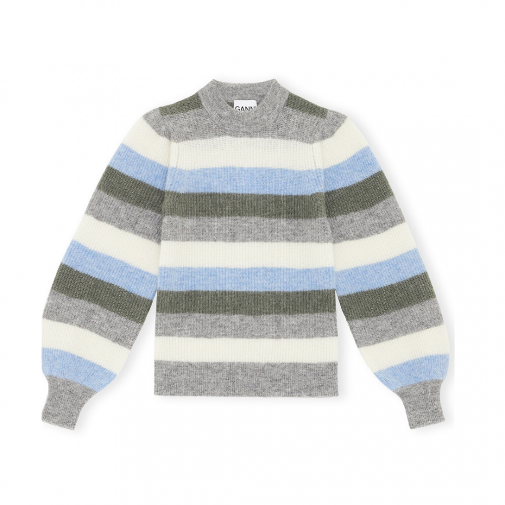 Soft Wool Knit Pullover Striped BrunneraBlue