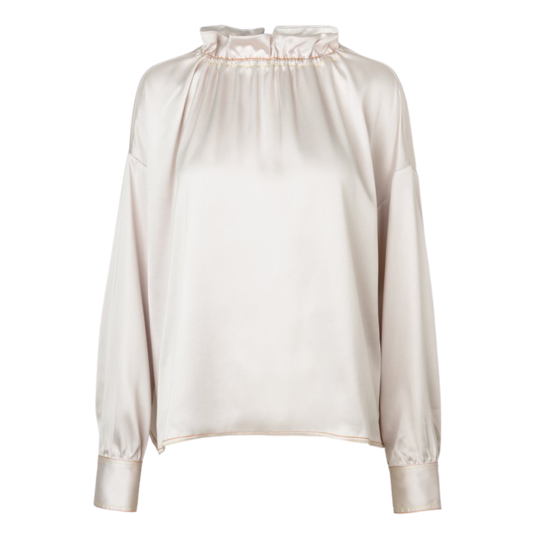 Ines 921 Solid Sheen Cady Top Blouse Ivory