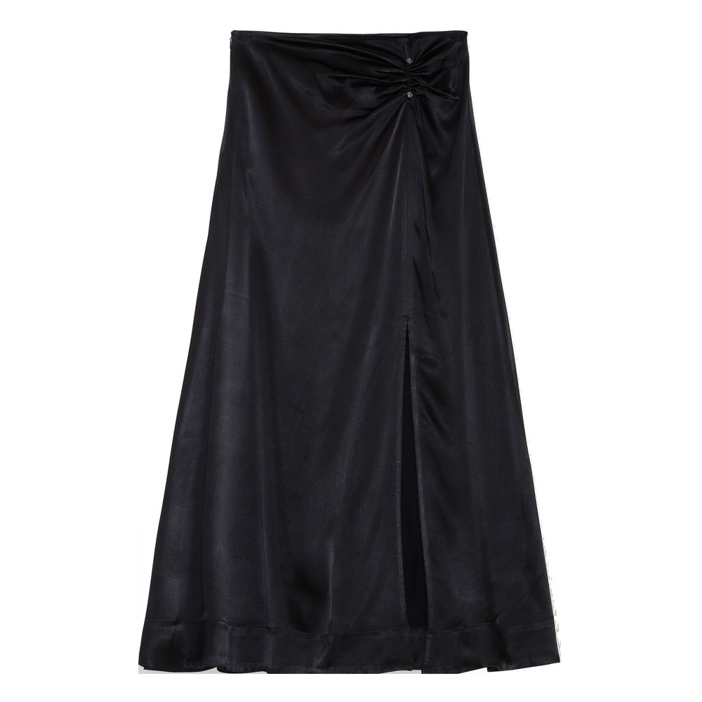 Heavy Satin Skirt Black