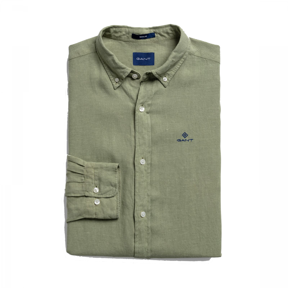 Garment Dyed Linen Reg BD Shirt Oil Green