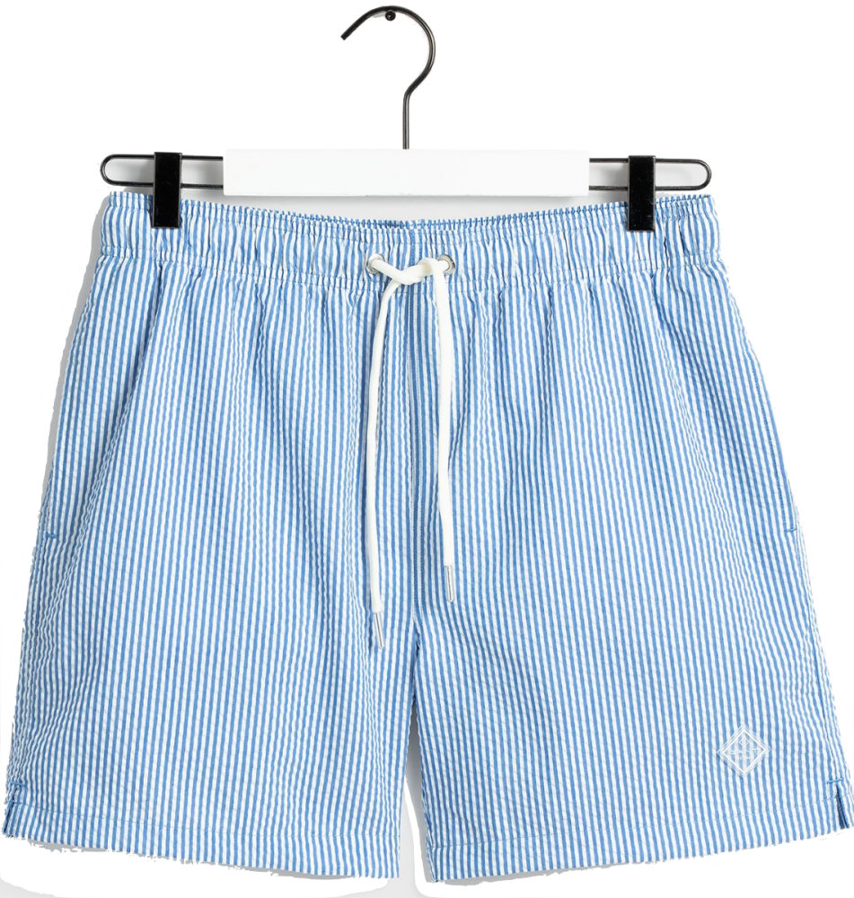 Seersucker Swim Shorts Nautical Blue