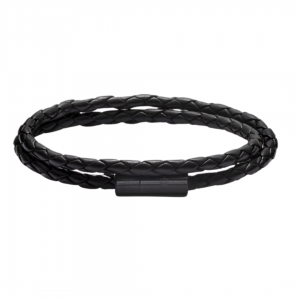Leather Bracelet Black-Black Two Rows