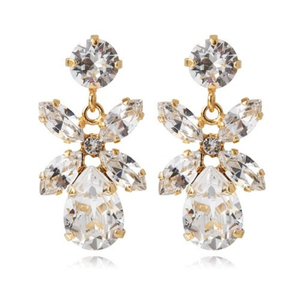 Mini Dione Earrings  Gold Crystal
