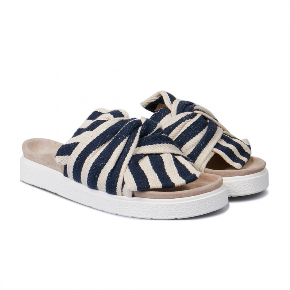 Women Slipper Knot Striped Blue